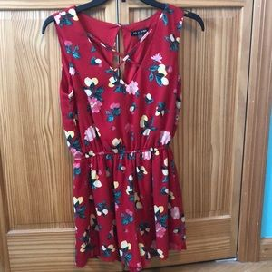 Red flowered romper